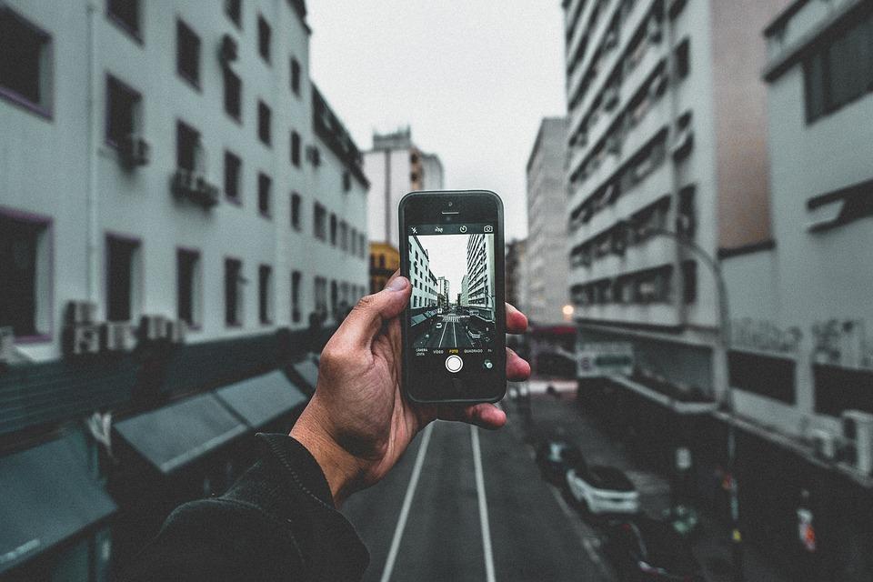Buildings, Cars, City, Hand, Iphone, Macro