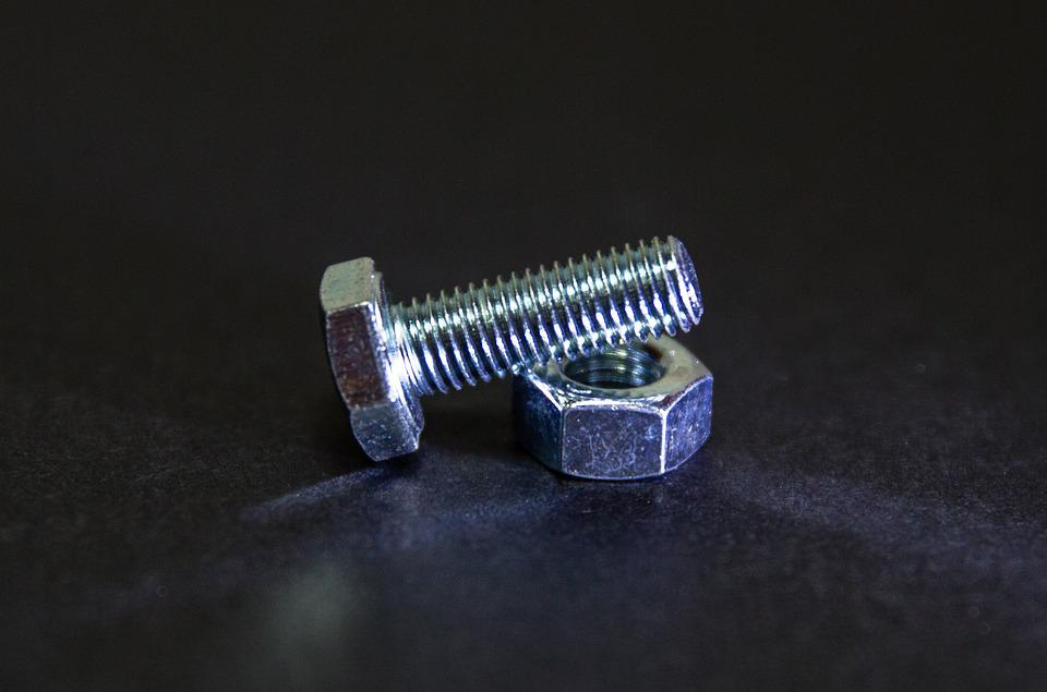 Nut, Bolt, Metal, Screw, Metallic, Shiny, Macro