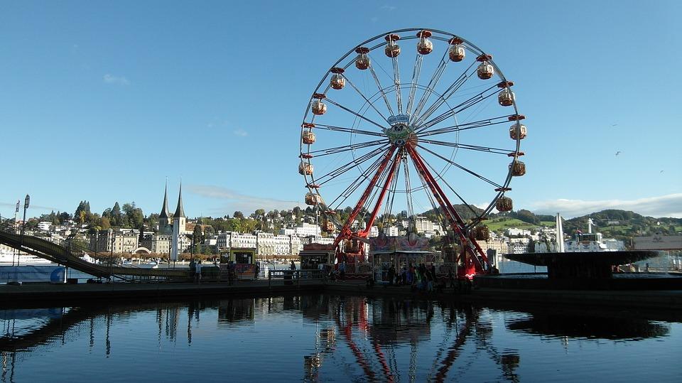 Lucerne, Ferris Wheel, Kilbi, Määs, Water, Blue, Sky