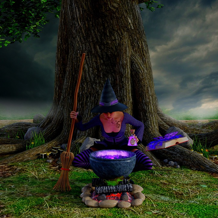 The Witch, Cauldron, Hexenbesen, Magic Book