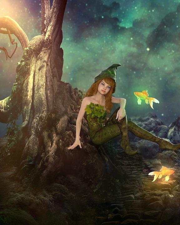 Fairy, Fantasy, Fish Gold, Magic, Fish, Light, Sitting