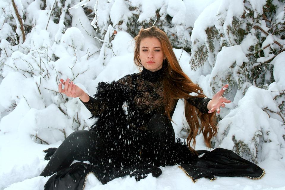 Girl, Snow, Long Hair, Winter, Black, Magic