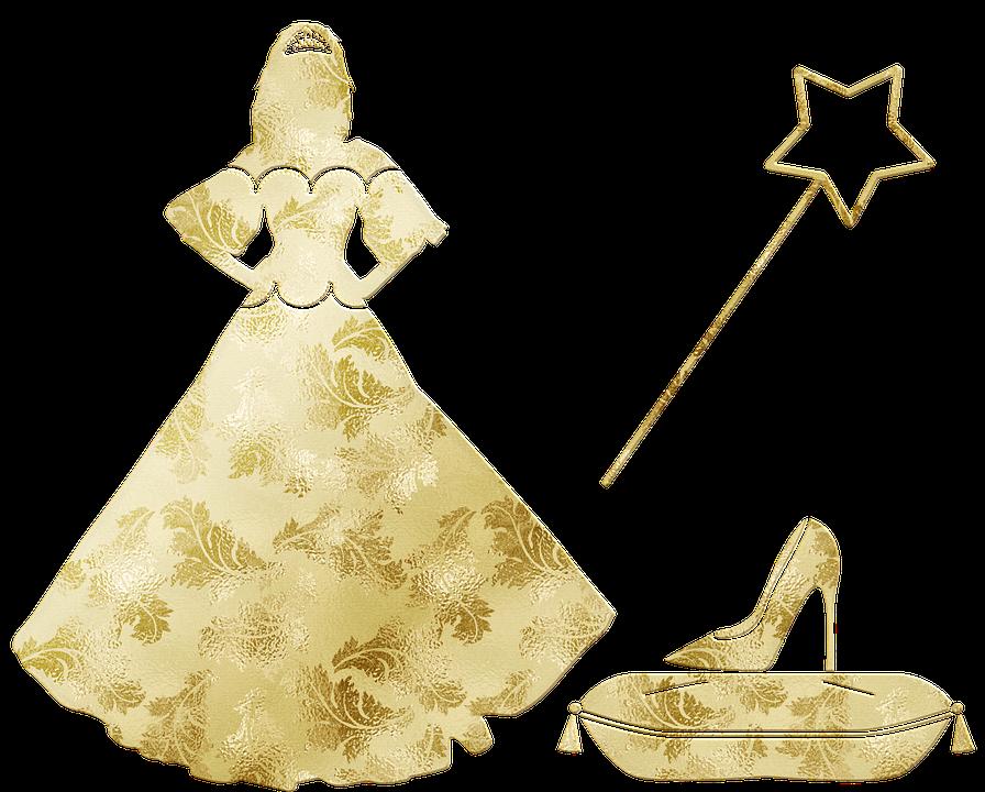 Princess, Gold Foil, Cinderella Shoe, Magic Wand