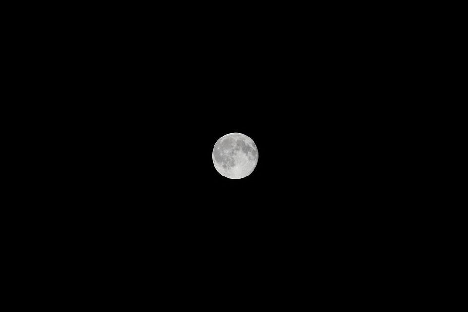 Moon, Magnificent, Night, Black, Sky, Black And White