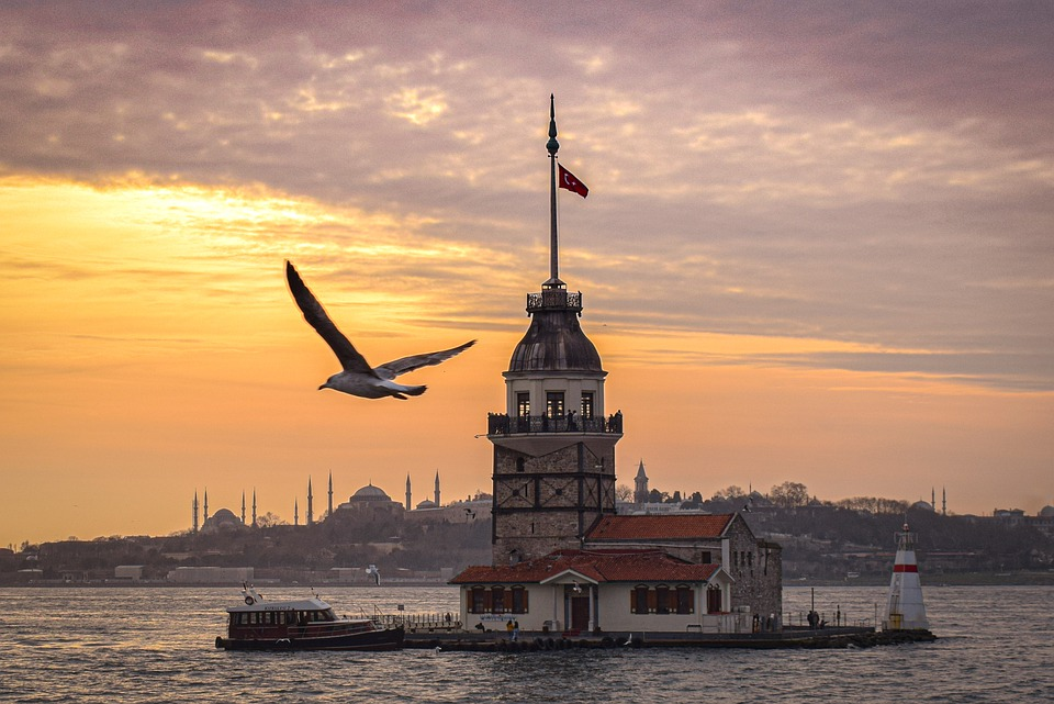 River, Sunset, Maiden's Tower Views, Isanbul