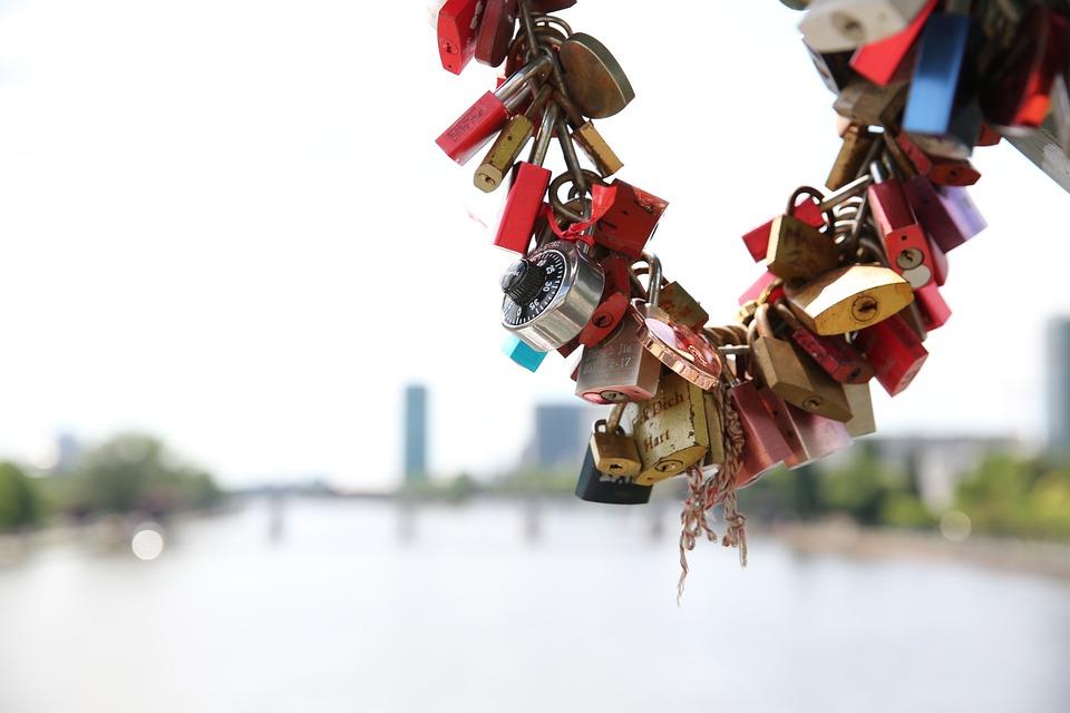 Love, Castle, Main, Frankfurt, River, Couple, Promise