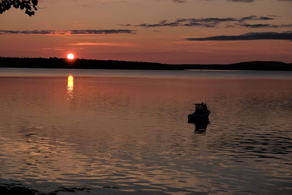 Sunrise, Maine, Boat, Sea, Morning, Dawn, Sky