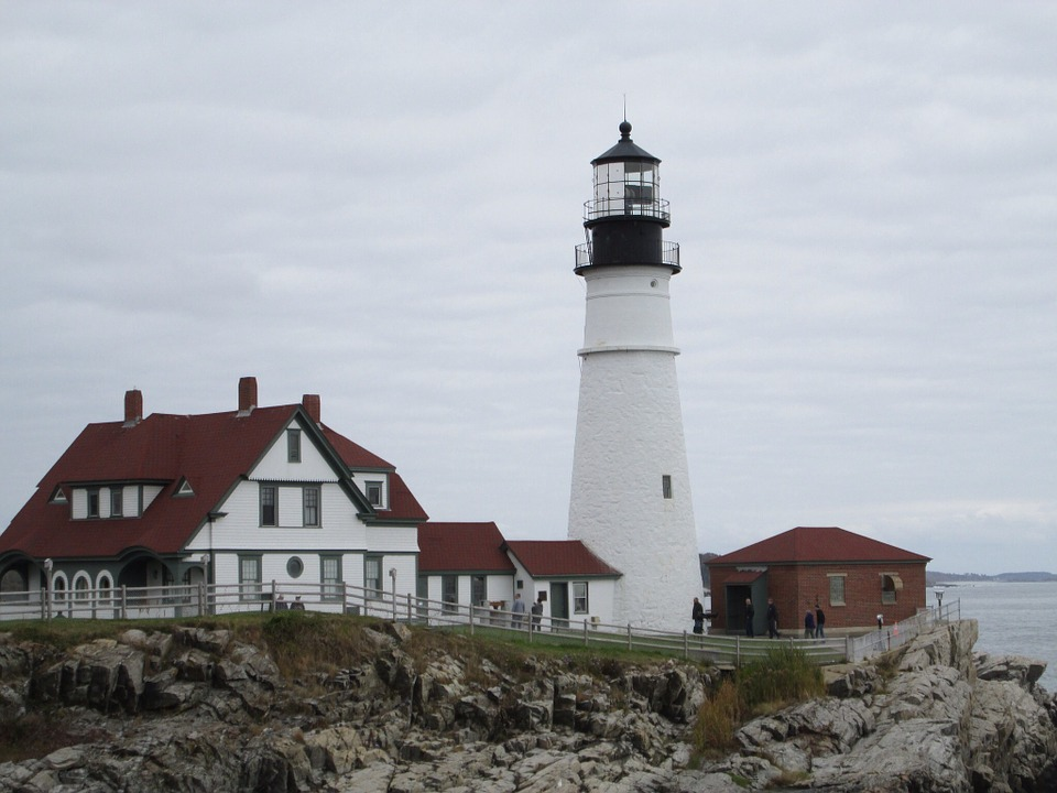 Lighthouse, Maine, Portland Head, Light, Beacon, Tower