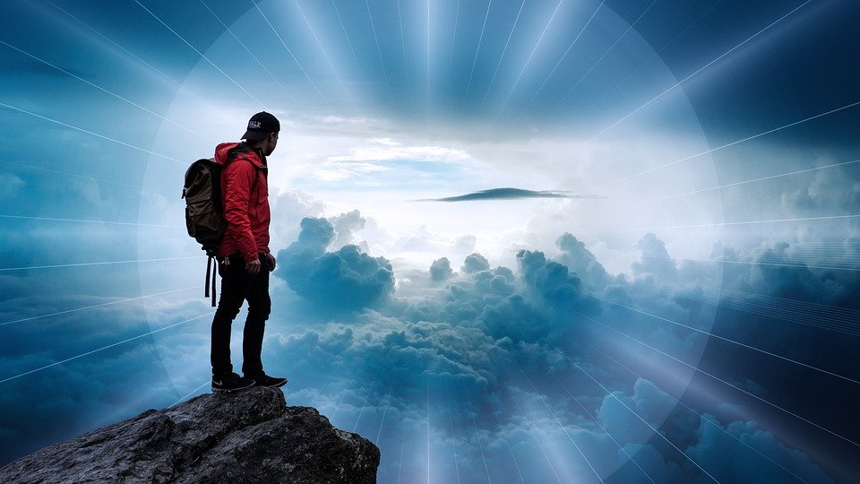 Man, Clouds, Landscape, Beyond, Sky, Rays, Majestic