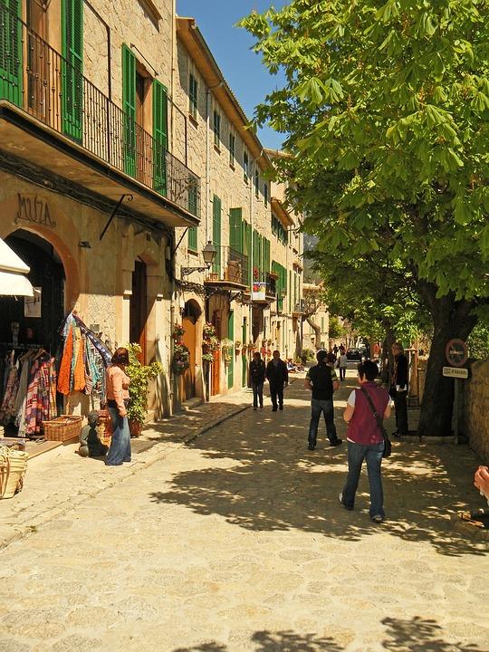Street, Shops, Building, Architecture, Majorca, Spain