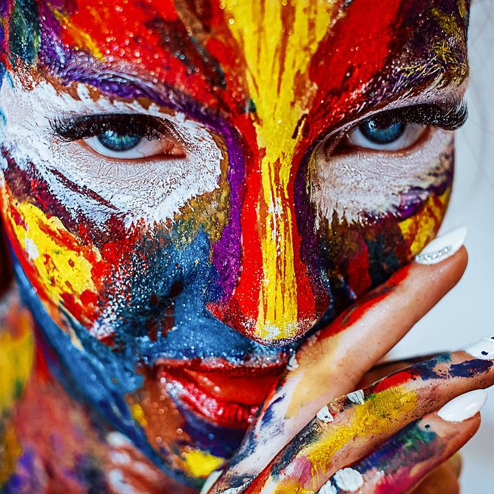 Paint, Makeup, Girl, Cosmetics, Color, Creativity