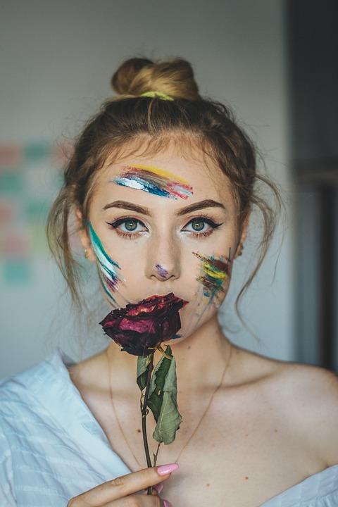 Rose, Eyes, Portrait, Woman, Person, Makeup, Flowers