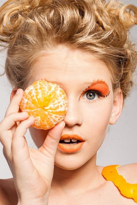 Woman, Portrait, Makeup, Model, Fruit, Tangerine