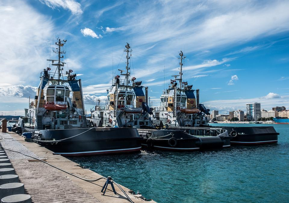 Malaga, Port, Spring, Tug Boats, Sea, Sky, Clouds