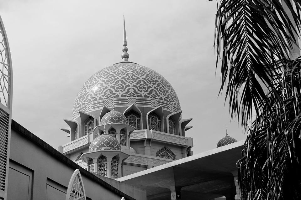 Religion, Sky, Mosque, Black And White, Malaysia