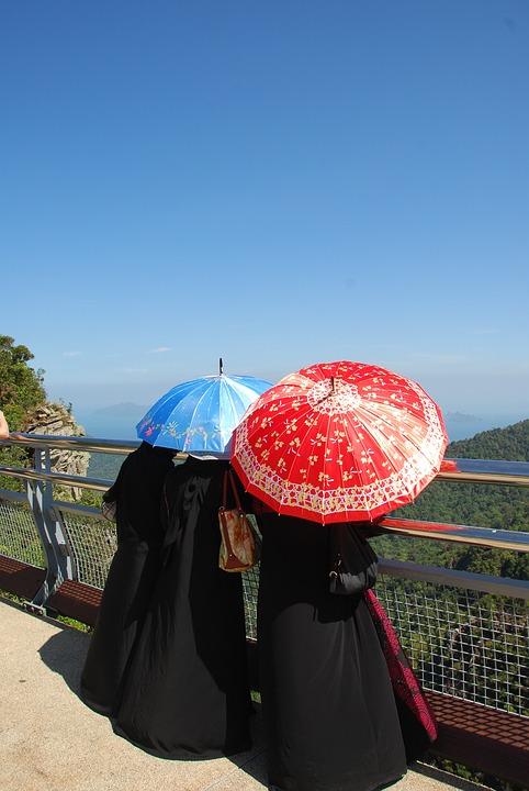 Muslim, Islam, Women, Malaysia, Colorful, Umbrellas