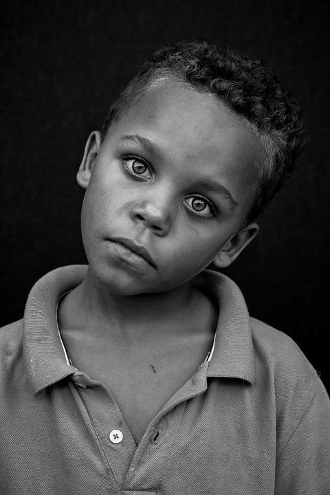 People, Portrait, Child, Poverty, Male, Black And White