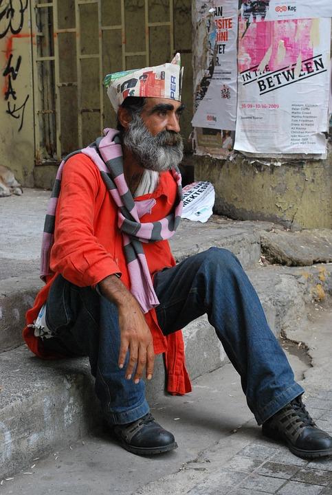 Man, Sitting, Hat, Homeless, America, People, Male