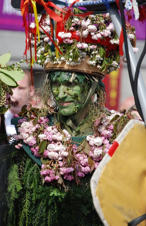 Man, Green Man, Hat, Flowers, Face, Male, Portrait