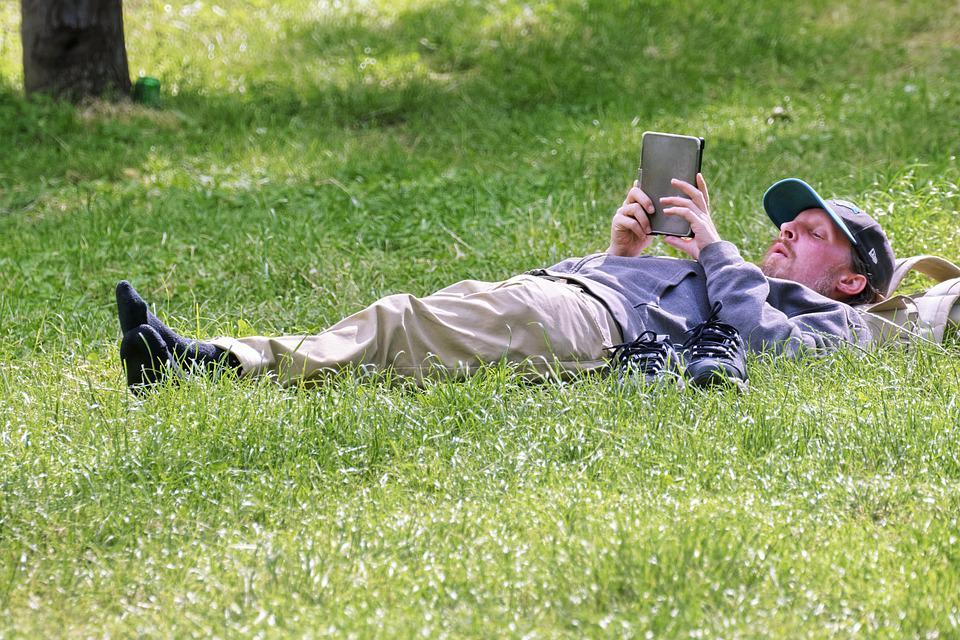 Man, Person, Male, Cap, Stretched, Grass, Green, Nature