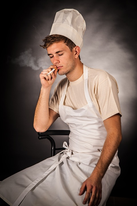Man, Cook, Smoking, Cigarette, Male, Chef, Chef Hat
