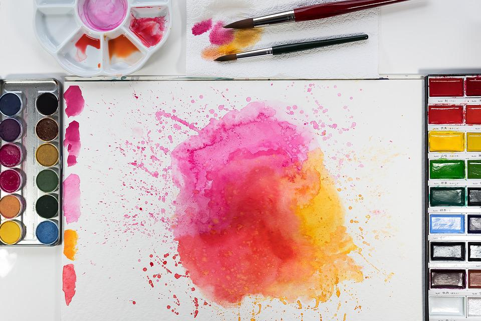 Watercolour, Yellow, Orange, Pink, Brush, Malkasten