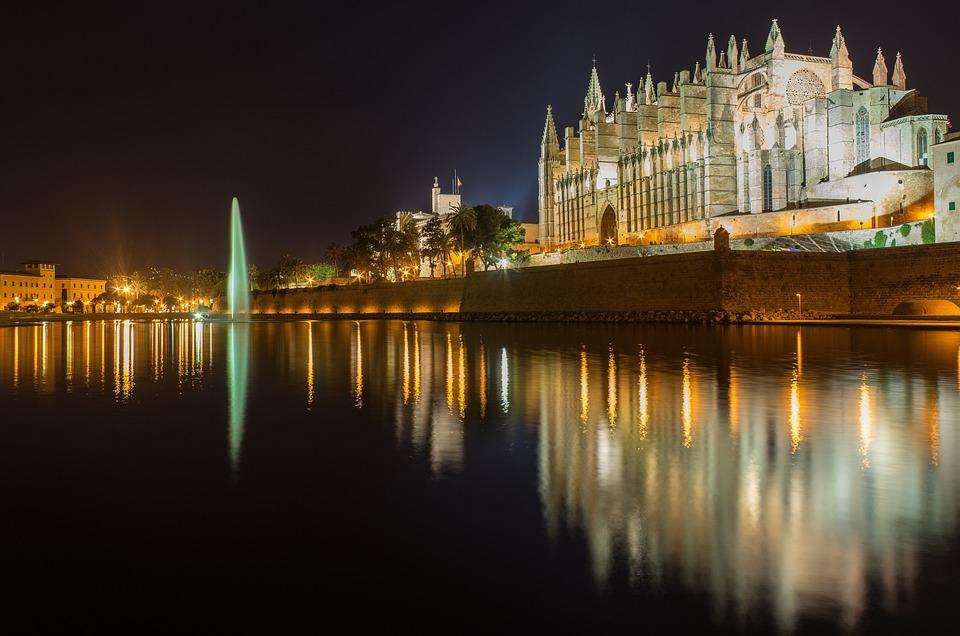 Mallorca, Palma, Cathedral, Church, Water, Mirroring