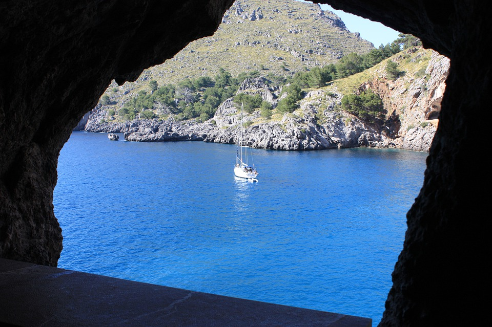 Mallorca, Sea, Rock, Nature, Water, Sailing Boat