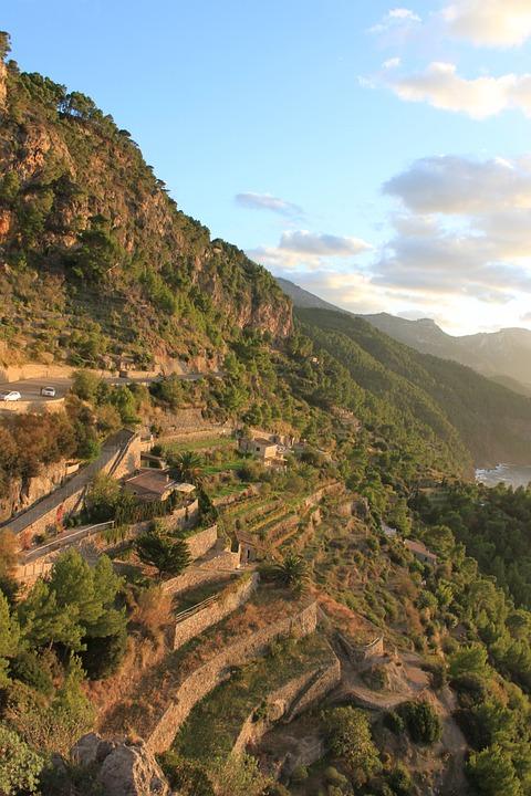 Mallorca, Mountains, Terrace Flower Beds, Landscape