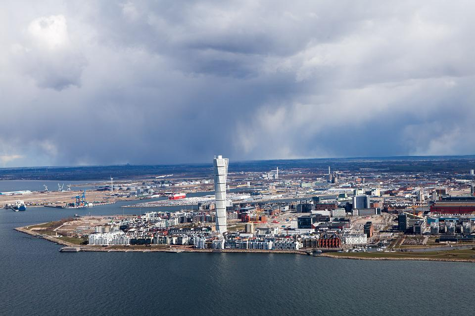 Malmö, Aerial Photo, Turning Torso, The West Harbour