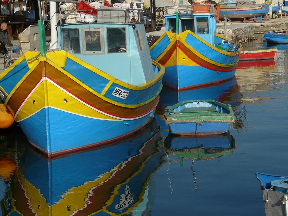 Fishing Boats, Marsaxlokk, Colorful, Port, Malta