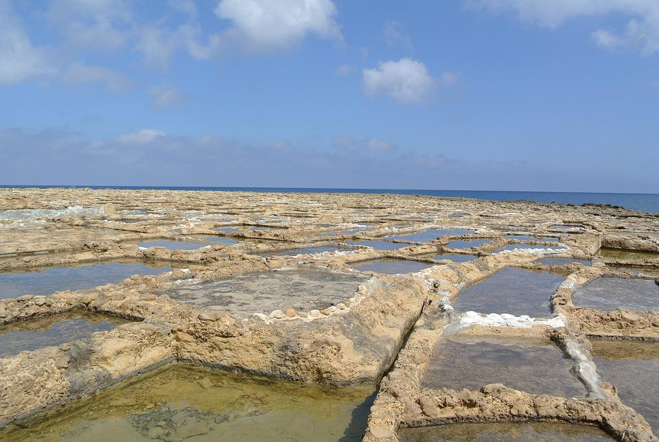 Marsalforn, Salt Pans, Gozo, Malta, Salt, Water, Europe