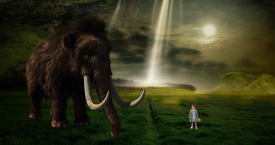 Fantasy, Mammoth, Child, Nature, Encounter, Dream World