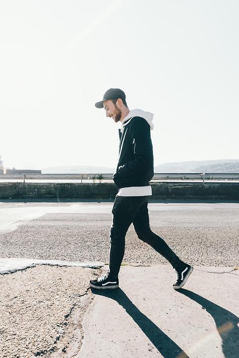 Walking, Man, Person, City, Adult, Cap, Happy, Street