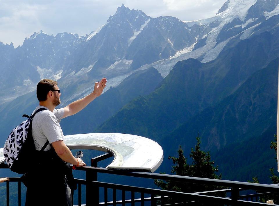Alps, Aiguille Du Midi, Mont Blanc, France, Man