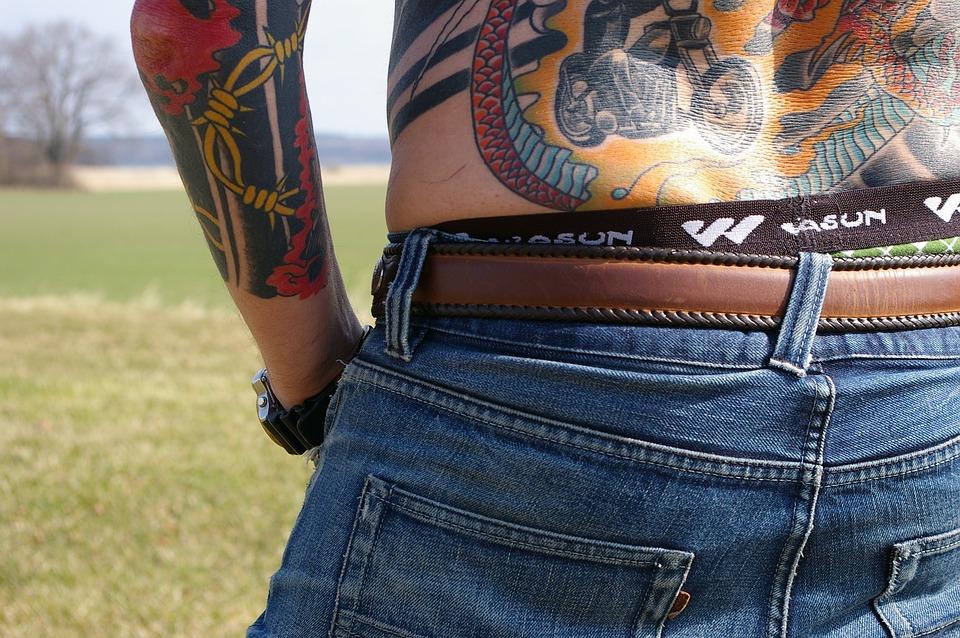 Back, Jeans, Hoy, Tattoo, Man, Selection