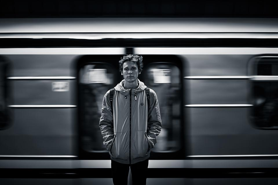 Black And White, Man, Person, Train