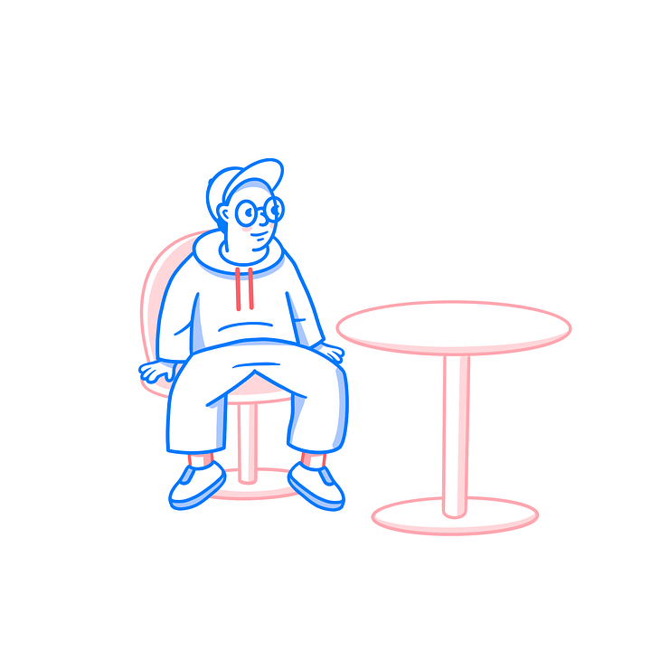 Pizza, Man, Sitting, Waiting, Pizzeria, Cafe