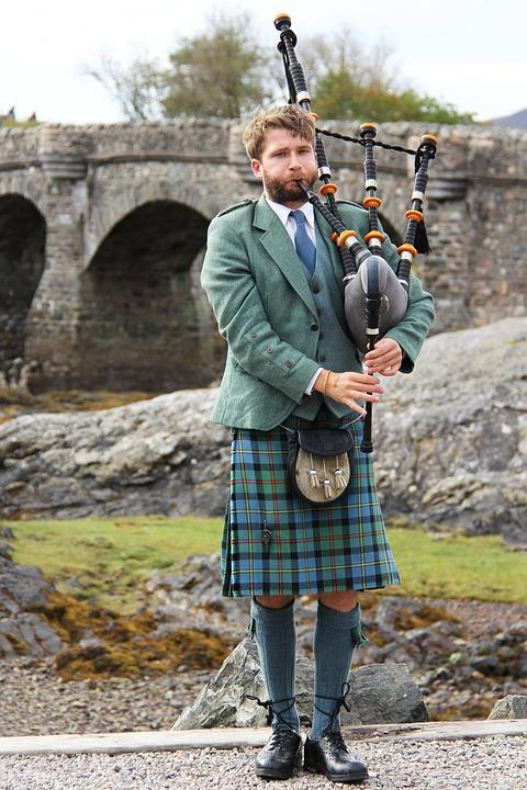 Free Photo Man Castle Bagpipes Scottish Highlander Person