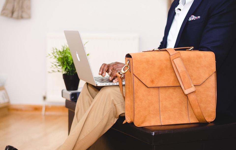 Bag, Chair, Computer, Indoors, Laptop, Macbook, Man