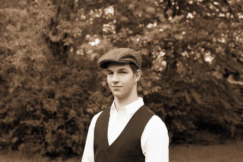 Man, Young Man, 1920s, Sepia, Cap, Chic, Model, Pride
