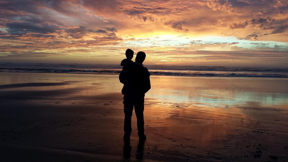Father, Son, Grandson, Man, Child, Sunset, Beach, Water