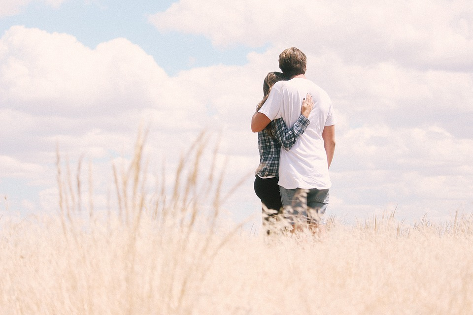 Sky, Clouds, Grass, Outdoor, People, Couple, Love, Man