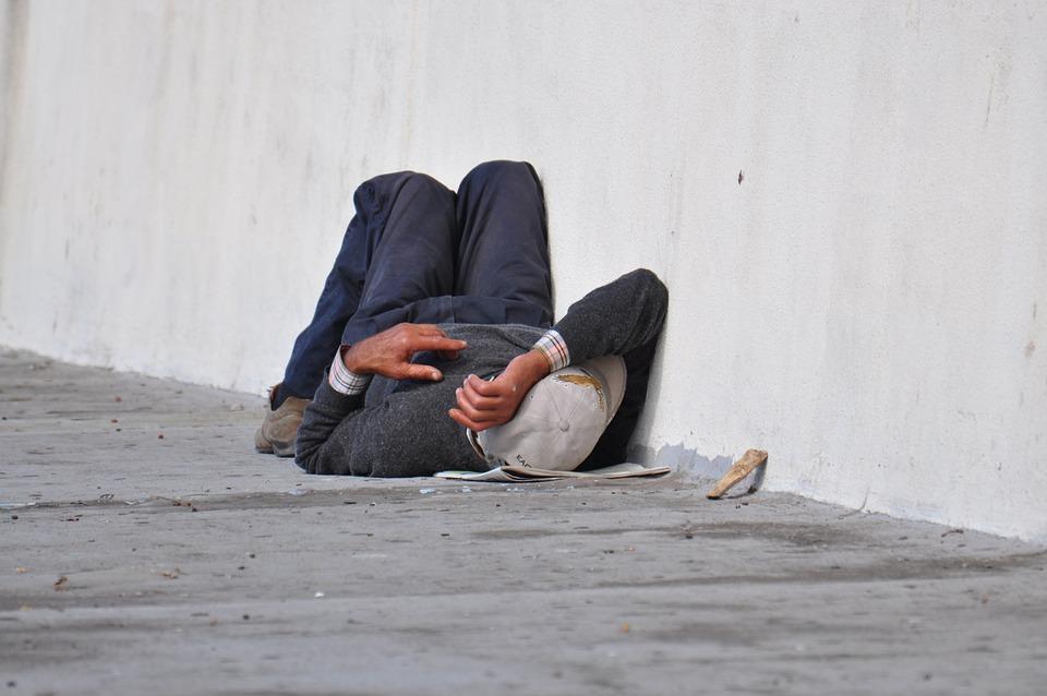 Homeless, Man, Concrete, Tired