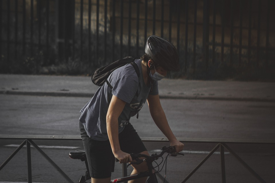 Man, Bicycle, Face Mask, Transport, Covid-19