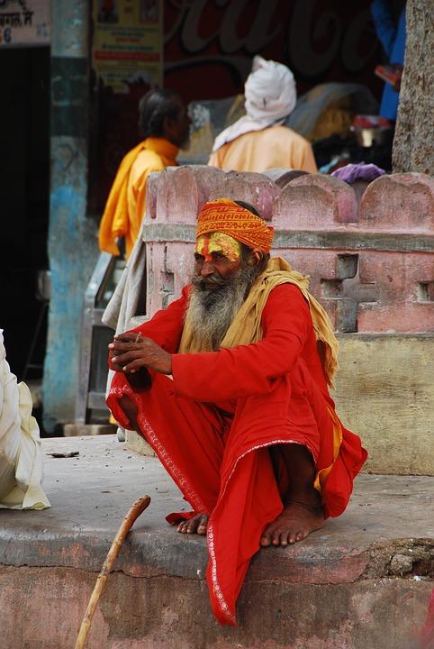 Man, India, The Locals, Orange Clothes, Face Painting