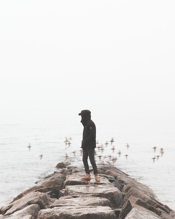 Guy, Beach, Rocks, Sand, Raining, Man, Water, Ocean