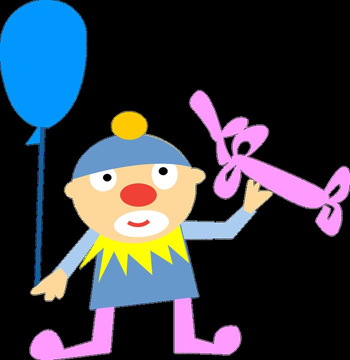 Clown, Balloon, Character, Cute, Happy, Man, People