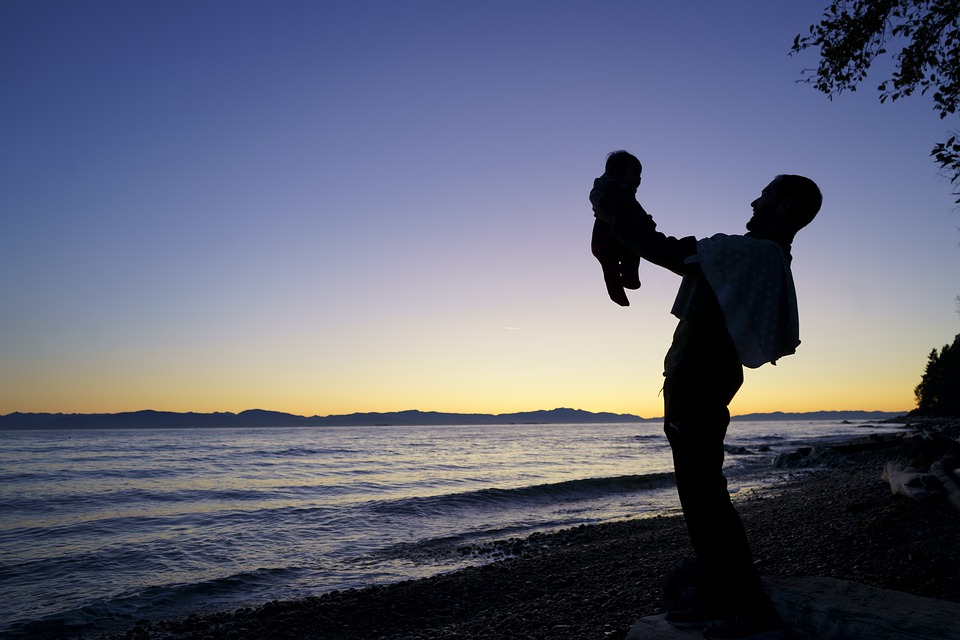Sunset, Father, Happy, Baby, Child, Together, Love, Man