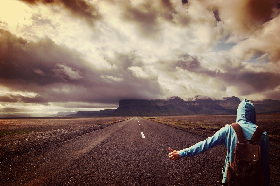 Road, Man, Hitcher, Wanderer, On The Go, Usa, Lonely